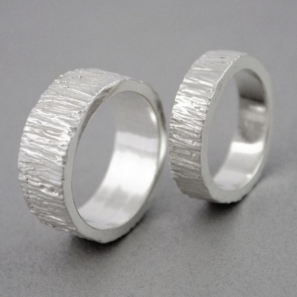 Silver Engament Ring, Tree bark