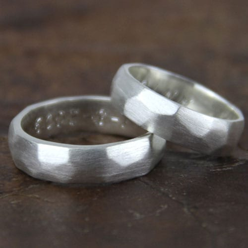 Silver engagement ring. Faceted texture Rustic