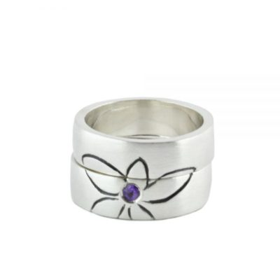 Silver Engagement Ring, Illustration of a Flower and Amethyst