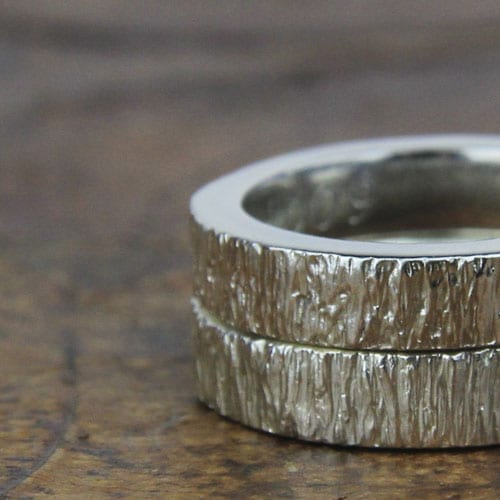 Silver engagement ring, tree bark