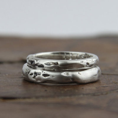 Silver engagement ring, organic texture