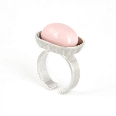 anillo de plata jabonera, porcelana rosa. Vacia la nevera