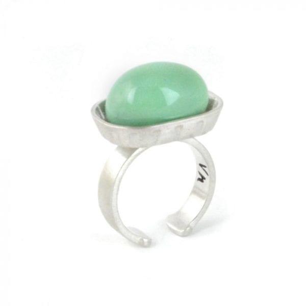 anillo de plata jabonera, porcelana turquesa. Vacia la nevera