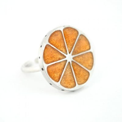 Anillo de Plata y Esmalte, Rodaja de Naranja