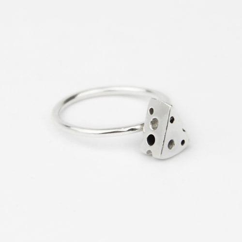 Silver engagement ring, tree bark