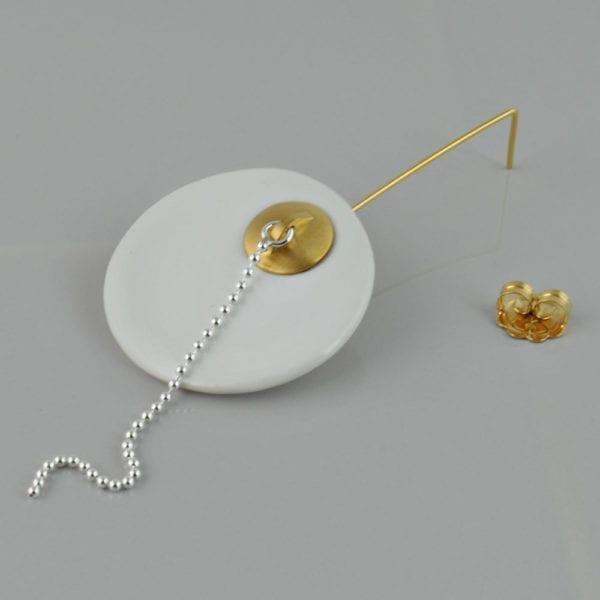 Golden Long Earring – Porcelain, Bathtub Lid