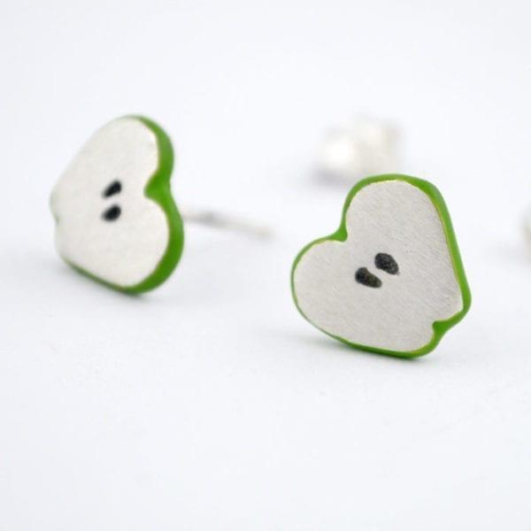 Pendientes de plata corazón de manzana