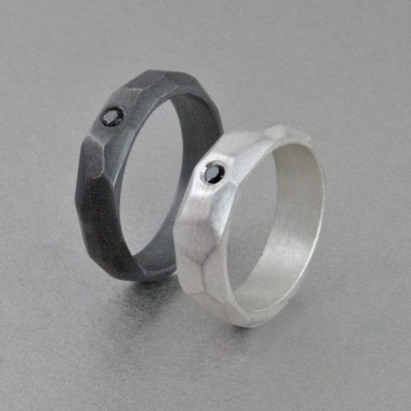 Silver Engagment Ring, Geometric, black diamond