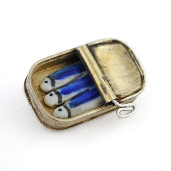 Brass Brooch and Porcelain,  Sardine Can