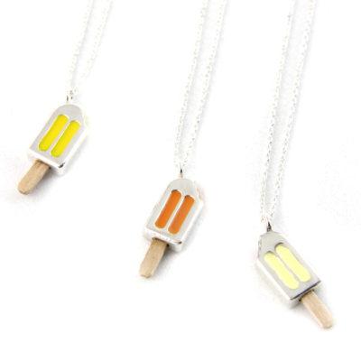 Silver choker necklace, Orange, Lemon and Vanilla, Ice Cream