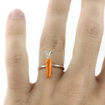Silver and Enamel Ring, Carrot Small