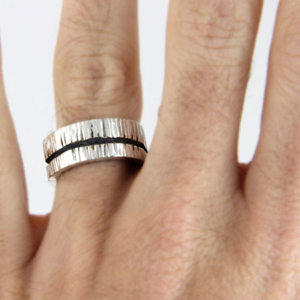 Silver engagement ring, Wide Tree Bark