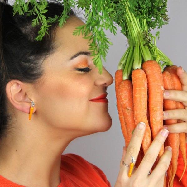Silver Enamel Ring, Big Carrot
