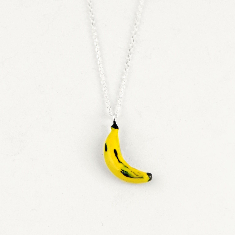 gargantilla de plata plátano amarillo