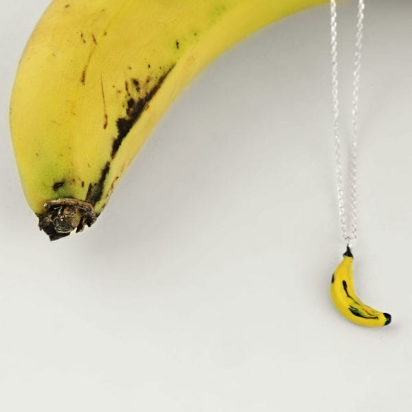 Silver Choker Necklace, Yellow Banana
