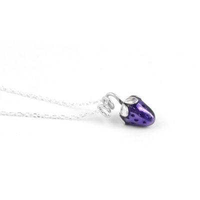 Silver Choker Necklace, Purple Strawberry