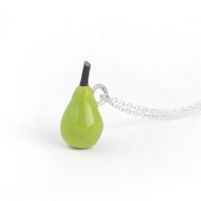 Silver Choker Necklace, Green Pear