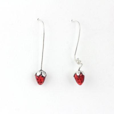 Long silver earrings, Strawberry