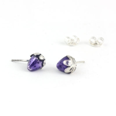 Silver Earrings, Purple Strawberry