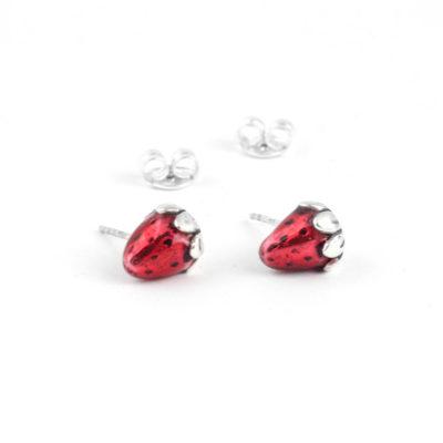 Silver Earrings, Red Strawberrys