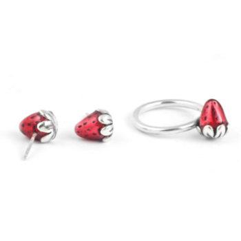Pendientes de plata fresas rojas