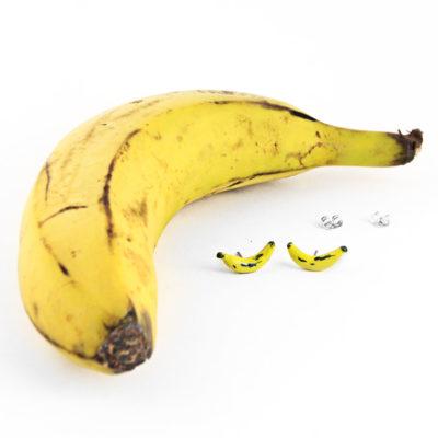 Silver earrings, Yellow Bananas