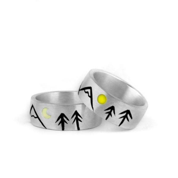 Silver Engagement Ring, Mountains, Sun and Moon