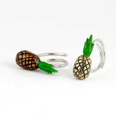 Silver and brass Ring, Pineapple