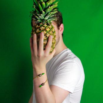 Brass bracelet Enamel – Pineapples