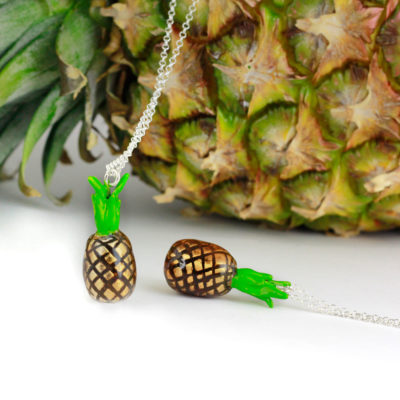 Silver Choker Necklace, Pineapple
