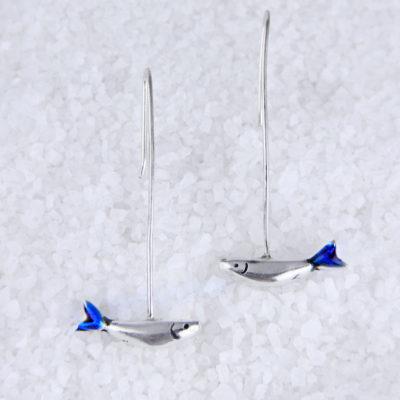Long silver earrings, sardines