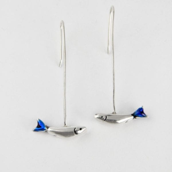 Long silver earrings, sardines
