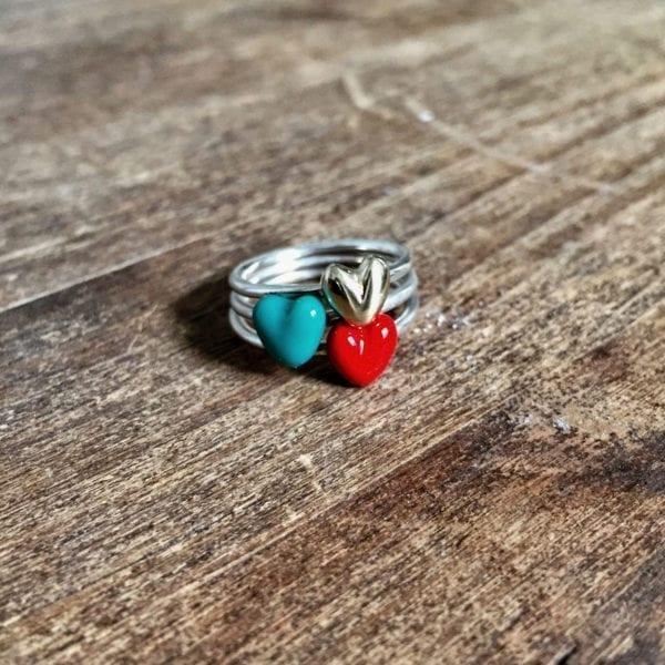 anillo plata corazon