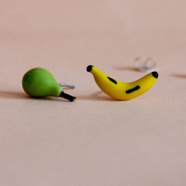 Silver Different Earrings, Pear and Banana