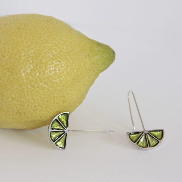 Silver Earrings, Orange and Lime