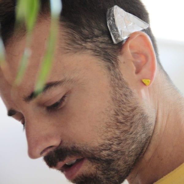 Silver earrings Cheese, original earrings