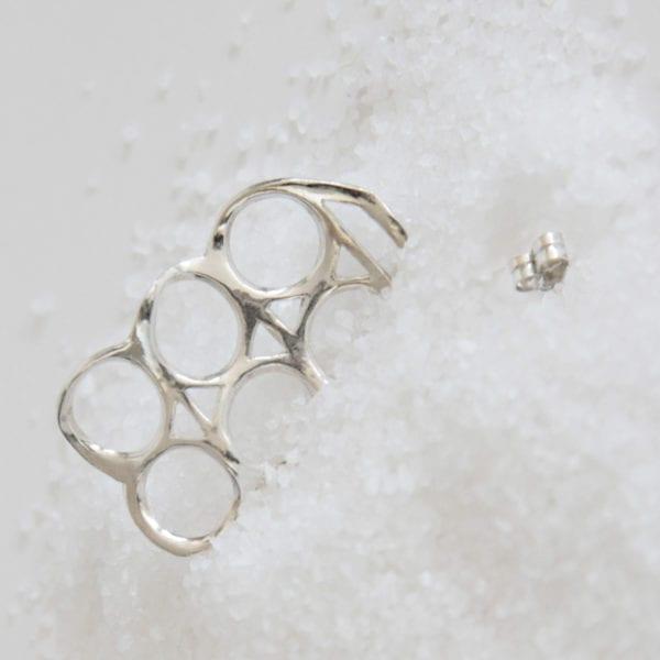 Silver earring Six Pack Rings